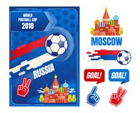 World football cup in Russia, poster design elements template, vector illustration. World football cup in Russia, poster design elements template, vector stock illustration