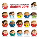 World Football Heroes Russia 2018 royalty free illustration
