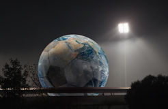 The world of football is under the projector Elem Royalty Free Stock Image