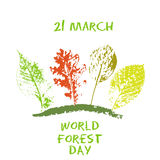 World forest day 21 March green chalk lettering typography with oak, marple, linden tree leaves colorful stamp texture Royalty Free Stock Image