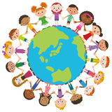 The world friend and earth. World children tying a hand Royalty Free Stock Photo