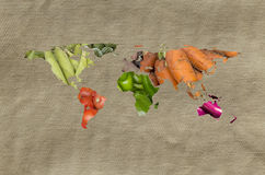 World Fruits Vegetables Map Stock Images