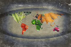 World Fruits Vegetables Map Stock Photo
