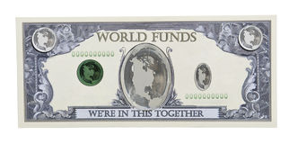 World Funds. Shown by the world globe on a money bill - Path included Royalty Free Stock Images