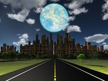 World of Future. Night roadway to future city. Terraformed moon in the sky. 3D rendering Royalty Free Stock Image