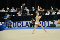 The World Games 2017 in Wroclaw, Poland. WROCLAW, POLAND - JULY 21: The World Games, Hall of The Century, first day of competition rhythmic acrobatics, Ayshan royalty free stock photos