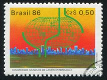 World Gastroenterology Congress Sao Paulo. BRAZIL - CIRCA 1986: stamp printed by Brazil, shows World Gastroenterology Congress Sao Paulo, circa 1986 stock photo