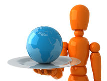 World in a gift. Orange mannequin with blue globe Stock Image