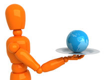 World in a gift. Orange mannequin with blue globe Stock Photo