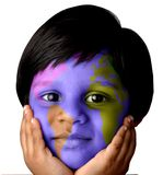 World girl. Girl with world map painted on her face Stock Photo