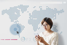 World Global Business Cartography Communication Concept stock photography
