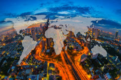 World Global Network Cartography Globalization with Aerial view. Of cityscape at twilight, Bangkok, Thailand. The Bangkok view in business district Royalty Free Stock Photo