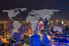World Global Network Cartography Globalization with Bangkok City. Scape in Business district with high building at night Royalty Free Stock Images