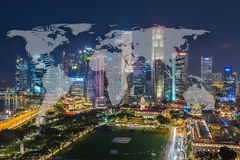World Global Network Cartography Globalization with Cityscape Si. Ngapore Panoramic Night Concept Royalty Free Stock Images