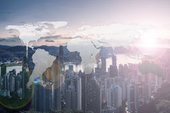 World Global Network Cartography Globalization with Hong Kong ci. Ty background Stock Image