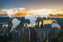World Global Network Cartography Globalization with Hong Kong ci. Ty blurred background Royalty Free Stock Image