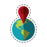 World global pointer map direction cut line Stock Photography
