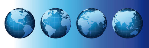 World - Global Set Series - Vector. This is a set of globes showing the earth revolving in different stages Stock Photography