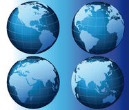 World - Global Set Series - Vector. This is a set of globes showing our planet revolving in different stages Stock Photography