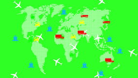 World global transport. Green screen background. stock footage