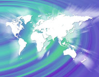 World Globalization. A world map montage over a blue/green background Royalty Free Stock Photography