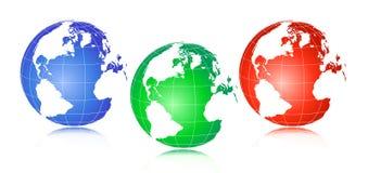 World globe. Isolated on white background - 3 color Royalty Free Stock Image
