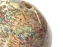 World Globe. A closeup of a globe evoking thoughts of travel, or worldliness Royalty Free Stock Photography