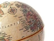 World Globe. A closeup of a globe evoking thoughts of travel, or worldliness Royalty Free Stock Images
