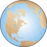 World Globe. Globe illustration focusing on North America with lines of latitude and longitude stock illustration