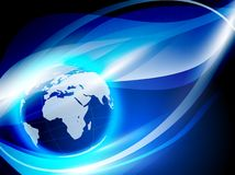 World globe. Over abstract blue background Royalty Free Stock Images