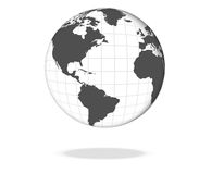 World Globe. Clean black and white world globe illustration Stock Photo