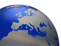 World globe. 3d illustration of world globe showing North African and European continents, white background Stock Image