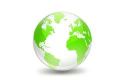 World globe. 3d illustration of green world globe on white background stock photos