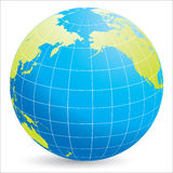 World globe. 3d illustration of world globe showing Pacific ocean, white background Stock Photo