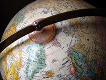 World Globe. A close-up photo of a world globe royalty free stock images