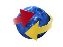 World globe. And metallic arrows. 3D render Stock Photos