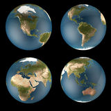 World Globe 4 views Royalty Free Stock Photography