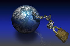 World Globe. On a chain leash with a lock at the end Stock Image