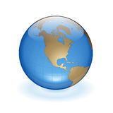 World Globe. As blue glass ball. With gold continents Stock Photos