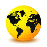 World Globe. Clean yellow and black world globe isolated on white background. Africa , Asia and Europe Stock Images