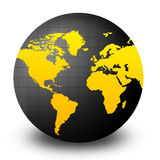 World Globe. Clean yellow and black world globe isolated on white background. Africa , Asia and Europe Royalty Free Stock Photo