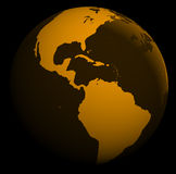 World globe. Orange world globe separated on blaCK Stock Photos