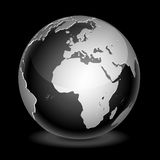 World globe. Icon and black background Stock Images