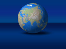 World Globe. On blue graphic background Asia, India, indonesia, view vector illustration