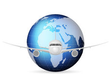 World globe and airplane. Airplane travel around the blue world globe Stock Photo