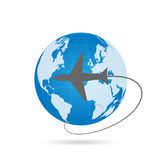 World Globe and Airplane Stock Photography