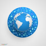 World globe with app icons Stock Photos