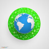 World globe with app icons. Royalty Free Stock Photography