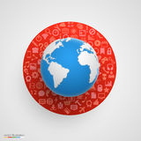 World globe with app icons. Stock Photo