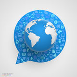 World globe with app icons in form of chat bubble. Stock Photos